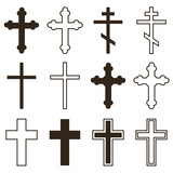 Big set of christian orthodoxy crosses in different styles and shapes isolated on white background. Cross as symbol of easter, faith, death and resurrection. - 107860696