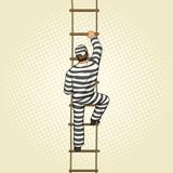 Fototapety Prisoner crawling on a rope ladder pop art vector