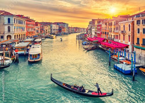 Gondola near Rialto Bridge in Venice, Italy Poster