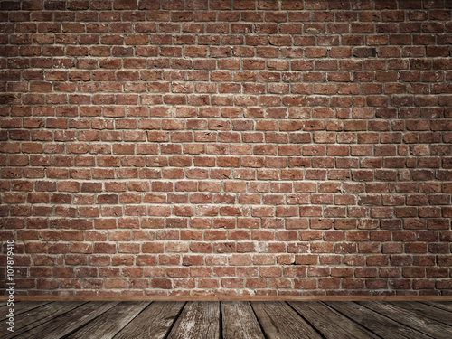 Deurstickers Baksteen muur Old brick wall with old wooden floor.