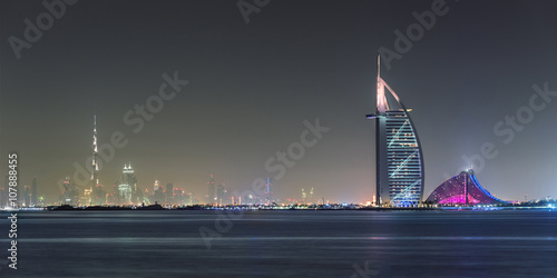 Poster Dubai Panoramic Night View