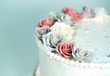 Wedding cake with roses.