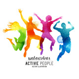 Watercolour Jumping People Vector. A group of freinds jumping into the air. Vector illustration.