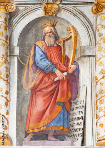 Rome - The king David fresco in church Basilica di San Vitale by Tarquinio Ligustri (1603) Poster
