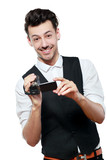 man holding an HD camcorde