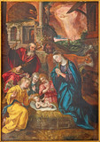 Antwerp - Paint of Nativity scene by Maarten de Vos from year 1577  in the Cathedral