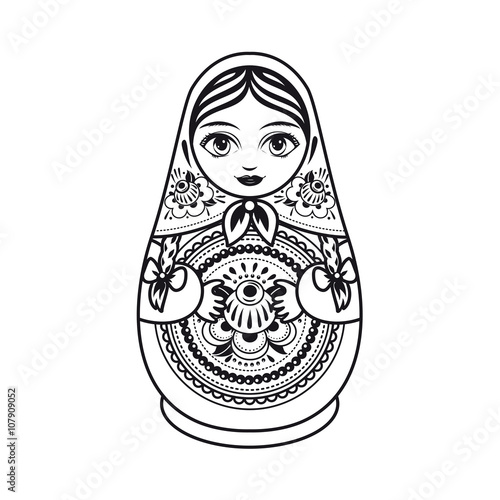 Matryoshka. Russian folk nesting doll. Black and white. Vector illustration on white background © Zoya Miller
