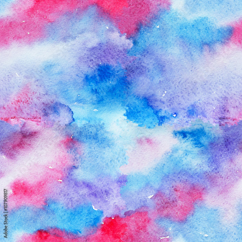 Cotton fabric Bright Seamless Watercolor Abstract Pattern. Mix of Blue and Pink Color Splashes. Colorful Texture. Hand Painted Background