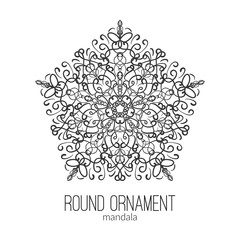 Vector hand drawn black floral mandala circle ornament isolated on the white background.