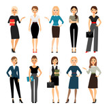 Fototapety Women in office clothes. Beautiful woman in business clothes. Vector illustration