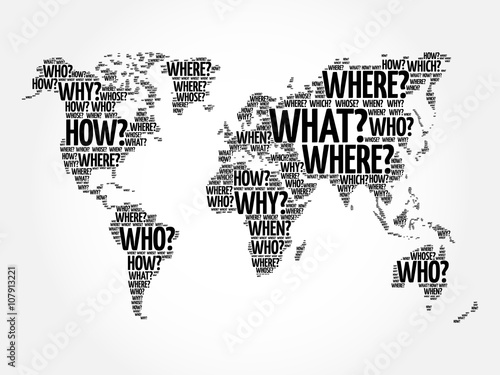 Question Words World Map in Typography, words cloud business concept background © dizain