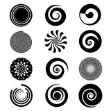 Fototapety Vector spiral elements. Spiral swirl icon circular, twirl spiral circle, twist curve spiral rotation illustration