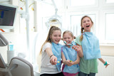 Fototapety girls  learning about dental hygiene. Dental hygiene