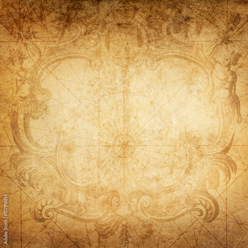 Keuken foto achterwand Schip old nautical treasure map background