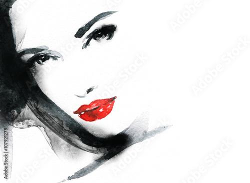 Juliste Woman face. Fashion  illustration