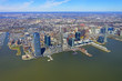 Helicopter view on New Jersey skyline from Hudson
