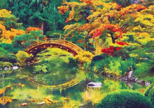 Fototapeta Japanese garden with bridge over a pond. Digital imitation of impressionism oil painting.