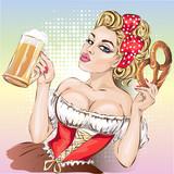 Oktoberfest pin-up kobieta z piwo i pretzel noszenia niemieckiej tradycyjnej sukni dirndl
