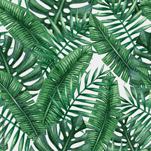 Cotton fabric Watercolor tropical palm leaves seamless pattern. Vector illustration.