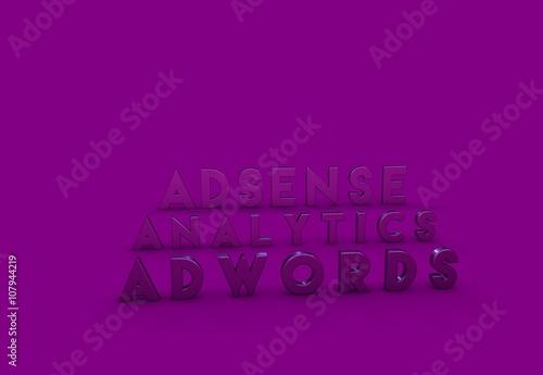 Deurstickers Violet Adwords, Adsense, 3D Tipografi