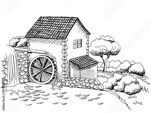 Naklejka Water mill graphic art black white landscape illustration vector