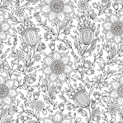 Vector Monochrome Floral Background.