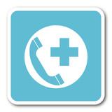 emergency call blue square internet flat design icon