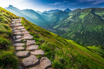 Footpath in the Tatras Mountains at sunrise, Poland