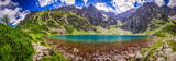 Fototapety Panorama of pond in the mountains at dawn, Poland