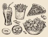 Fototapety fast food. hand drawn soda, lemonade, fries, slice of pizza, salad, dessert, donut. sketch vector illustration