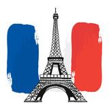 France Eiffel Tower and Flag, Vector Artwork