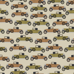 Background old cartoon retro car. Pattern Vector retro truck.