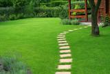 Beautiful lawn and path - 108029099