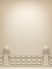 White background with balustrade