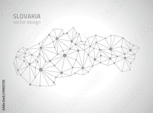 Poster Slovakia vector polygonal map