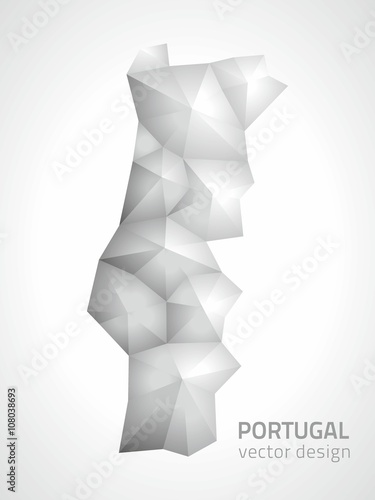 Poster Portugal polygonal grey and silver vector map