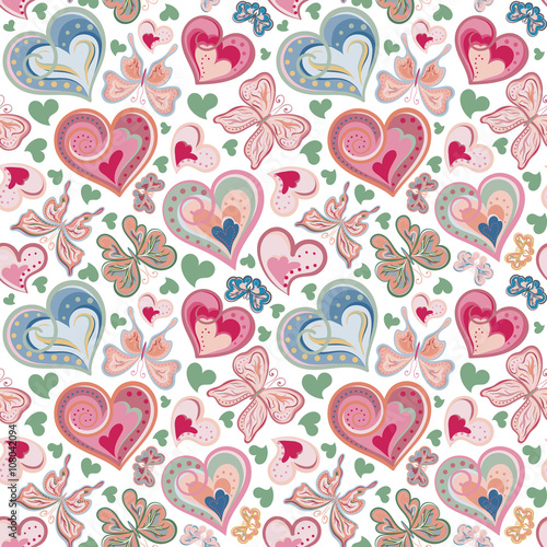 Foto op Plexiglas Vlinders in Grunge bright seamless pattern with butterflies and hearts