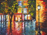 Art Oil Painting Picture Rainy Colorful Evening in the Town