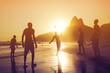 Quadro Silhouette of locals playing ball at sunset in Ipanema beach, Rio de Janeiro, Brazil.