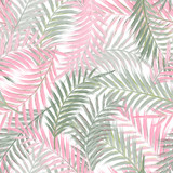 Leaves of palm tree. Seamless pattern. Palm leaf in violet on white background. Tropical trees leaves.