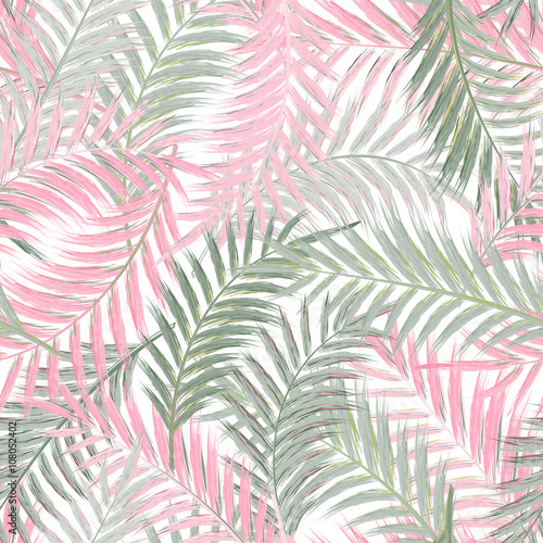 Leaves of palm tree. Seamless pattern. Palm leaf in violet on white background. Tropical trees leaves. - 108052402