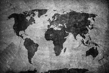 Retro world map on concrete, plaster wall. Vintage, grunge background. © Photocreo Bednarek