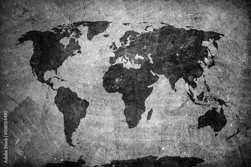 Fototapety, obrazy : Retro world map on concrete, plaster wall. Vintage, grunge background.