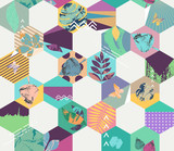 Floral seamless geometric background