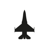 simple black fighter icon on white background