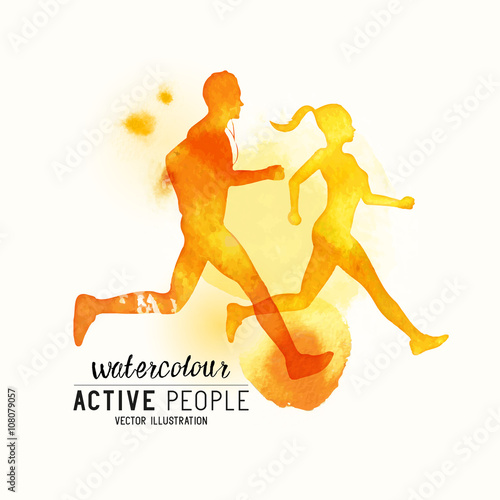 Watercolour running People Vector