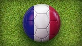 Participating teams. Countries flags footballs animated on football grass background.