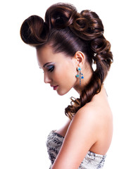 Profile  portrait of a beautiful woman with creative hairstyle © Valua Vitaly
