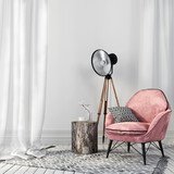 Stylish pink chair and a vintage spotlight - 108120033