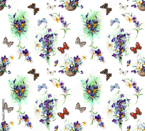 Naklejka Seamless pattern of violets. Violets background, watercolor composition. Flower backdrop. Decoration with blooming violets, hand-drawing. Bouquet of violets. Illustration. White background
